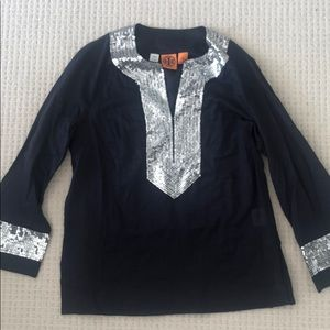 Tory Burch Navy Sequin Tunic Top